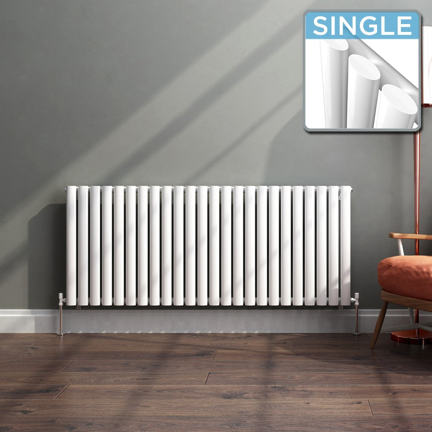 iBathUK White Column Designer Radiator Horizontal Single Oval Panel