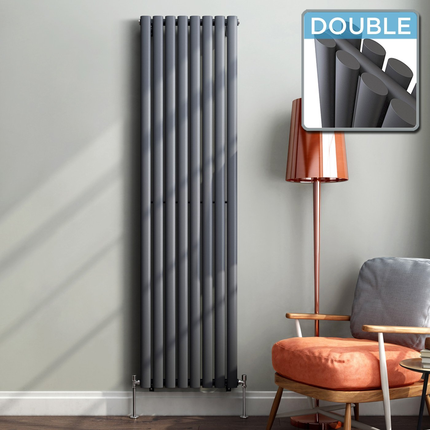 iBathUK 1800 x 480 mm Vertical Column Radiator Anthracite Oval Double