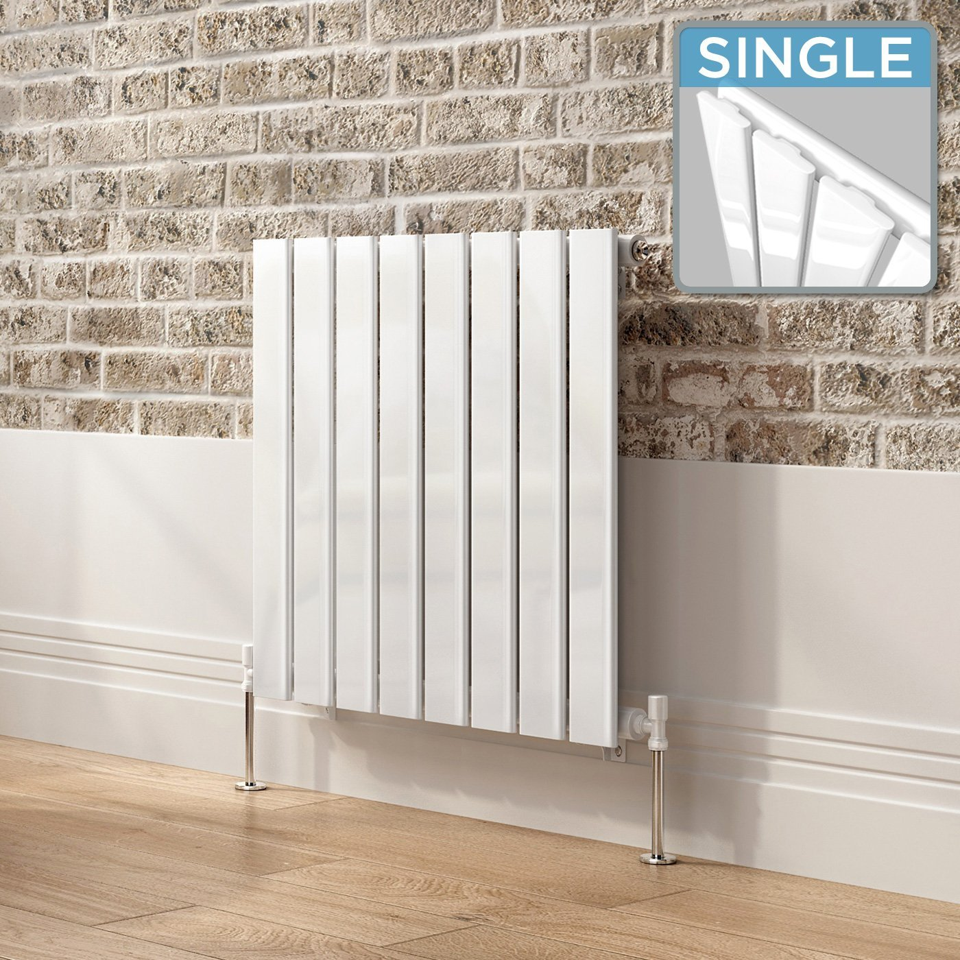 600 x 600 mm White Column Designer Radiator Horizontal Single Flat Panel